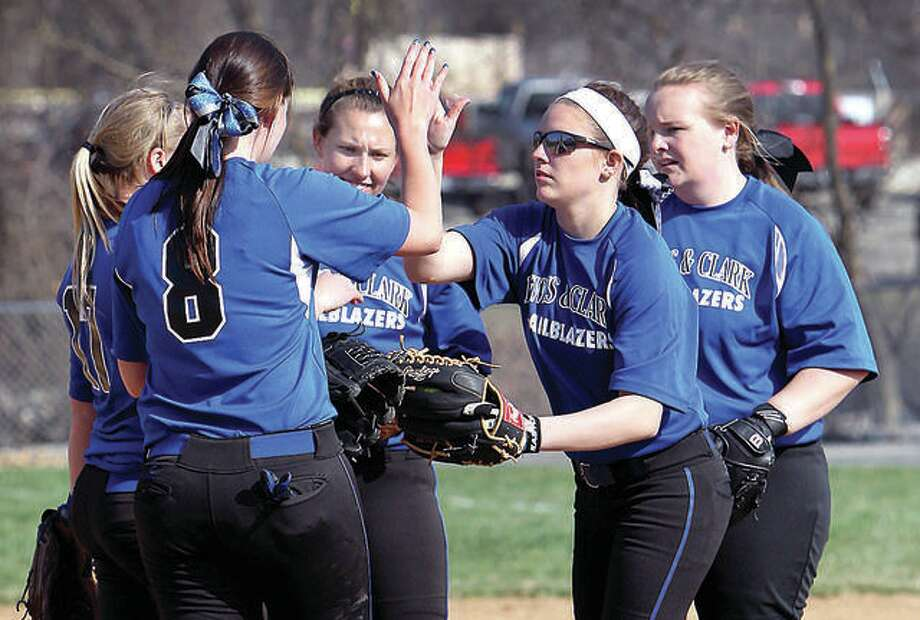 The Lewis and Clark Community College softball team fell to Illinois Central 17-3 Tuesday in the title game of the NJCAA Region 24 Tournament in Mattoon. The Trailblazers will play host to St. Louis Community College in a district playoff series Thursday and Friday with a berth at the NJCAA National Tourney on the line. Photo: Telegraph File Photo