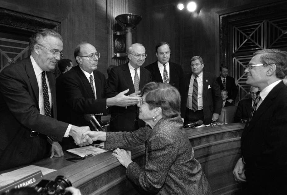 Alice Rivlin, the director of the White House Office of Management and Budget, is greeted by Sen. Paul Sarbanes, D-Md., a member of the Senate Banking Committee, in March 1996. Photo: Washington Post Photo By Ray Lustig / The Washington Post