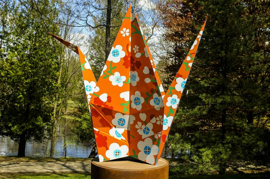 Metal sculptures are displayed at various spots within Dow Gardens on Tuesday, May 14, 2019. The exhibition, entitled Origami in the Garden, was created by Santa Fe artists Jennifer and Kevin Box. (Victoria Ritter/vritter@mdn.net) Photo: (Victoria Ritter/vritter@mdn.net)