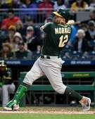 PITTSBURGH, PA - MAY 04: Kendrys Morales #12 of the Oakland Athletics hits a single to right field in the third inning during the game against the Pittsburgh Pirates at PNC Park on May 4, 2019 in Pittsburgh, Pennsylvania. (Photo by Justin Berl/Getty Images)