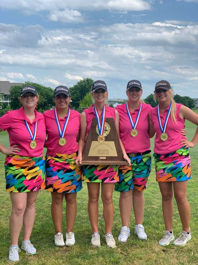 The Andrews girls golf team poses after winning the Class 4A state golf championship on Tuesday at Plum Creek Golf Course in Kyle. Courtesy photo Photo: Courtesy Photo