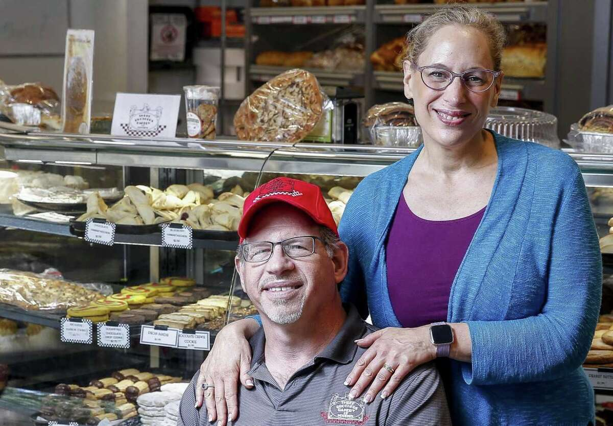 Three Brothers Bakery owners Bobby and Janice Jucker stand for a portrait at their South Braeswood Boulevard location Friday Aug. 17, 2018, in Houston.
