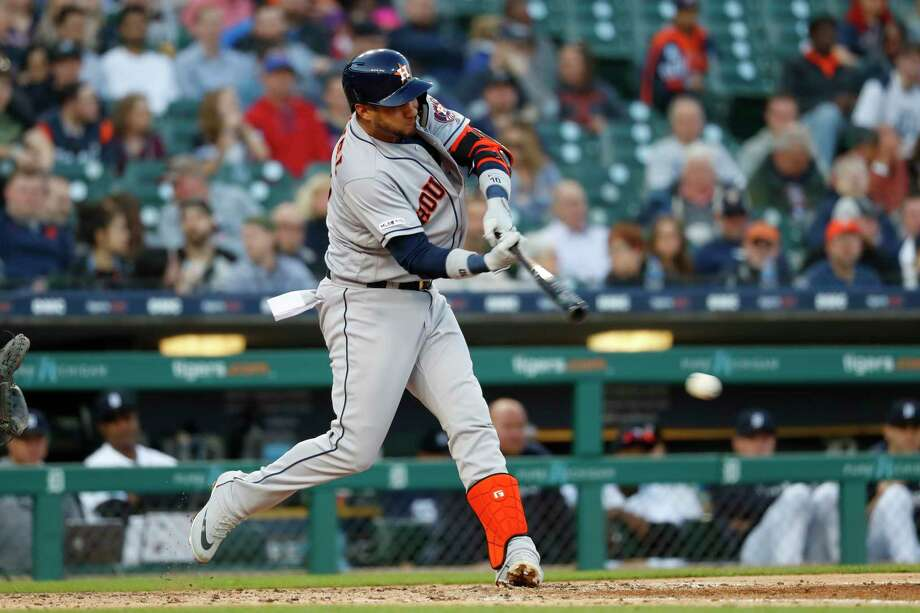 Houston Astros' Yuli Gurriel (10) hits an RBI single in the fourth inning of a baseball game against the Detroit Tigers in Detroit, Tuesday, May 14, 2019. (AP Photo/Paul Sancya) Photo: Paul Sancya, Associated Press / Copyright 2019 The Associated Press. All rights reserved