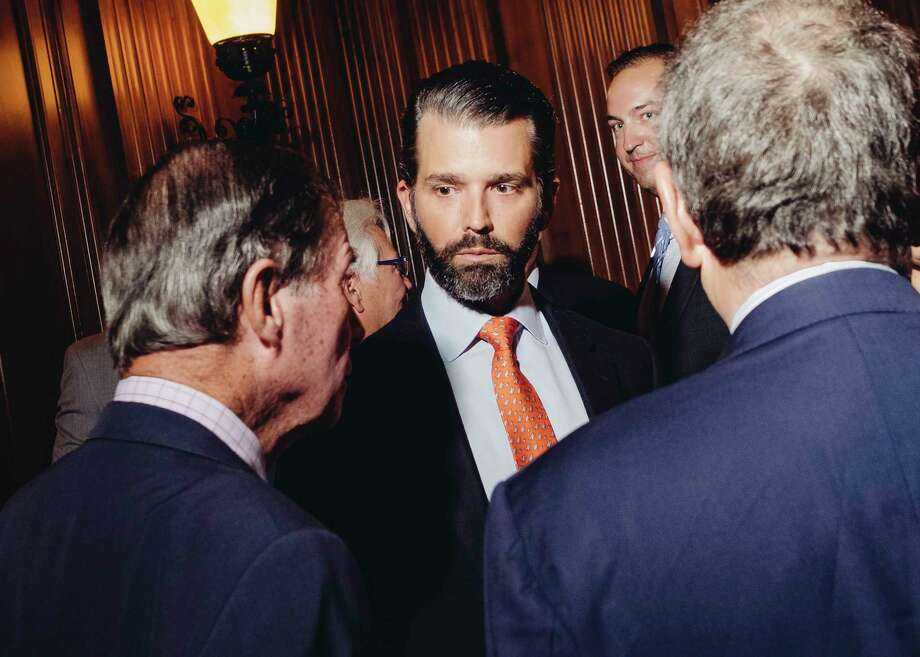 FILE -- Donald Trump Jr. attends a fundraising gala at The University Club in Manhattan, April 9, 2019. Trump Jr. and the Republican-controlled Senate Intelligence Committee reached a deal on May 14 for the president?s eldest son to sit with senators in the coming weeks for a private, time-limited interview. (Christopher Lee/The New York Times) Photo: CHRISTOPHER LEE / NYTNS