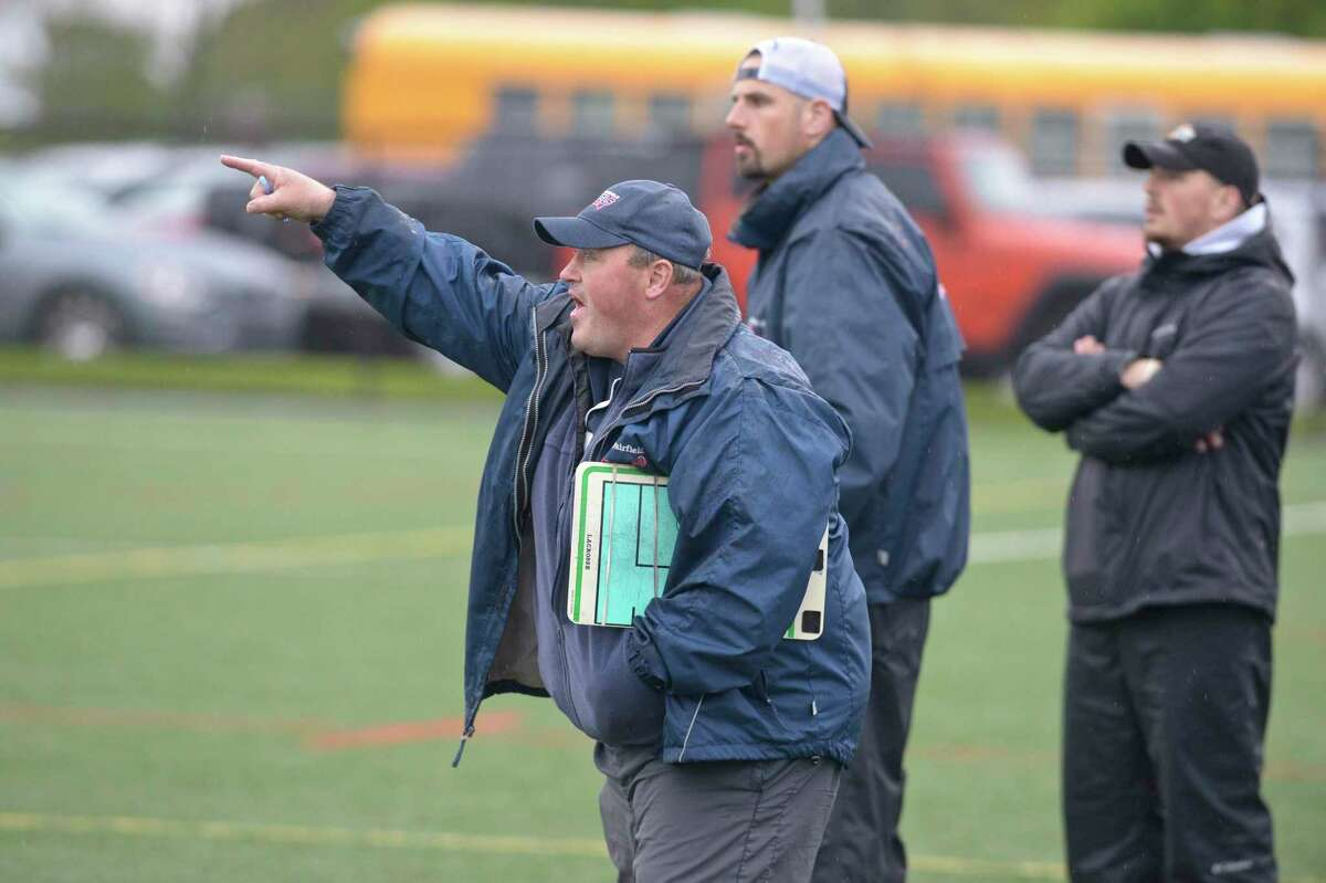 New Fairfield head coach Marty Morgan during the boys lacrosse game between Staples and New Fairfield high schools. Tuesday, May 14, 2019, at New Fairfield High School, New Fairfield, Conn.
