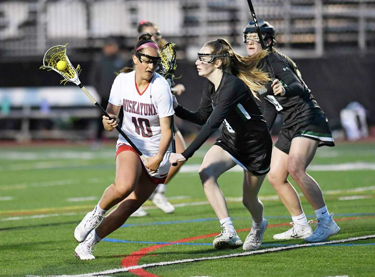 Niskayuna's Sydney McParlton (10) shoots the ball against Shenendehowa during a Section II high school girls' lacrosse game Thursday, May 9, 2019, in Schenectady, N.Y. (Hans Pennink / Special to the Times Union)