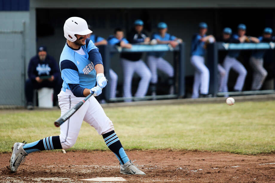 Meridian's Hunter Merillat, shown in a game earlier this season, broke the state career record for high school baseball with his 69th double on Tuesday against Beaverton. Photo: Katy Kildee, Kkildee@mdn.net