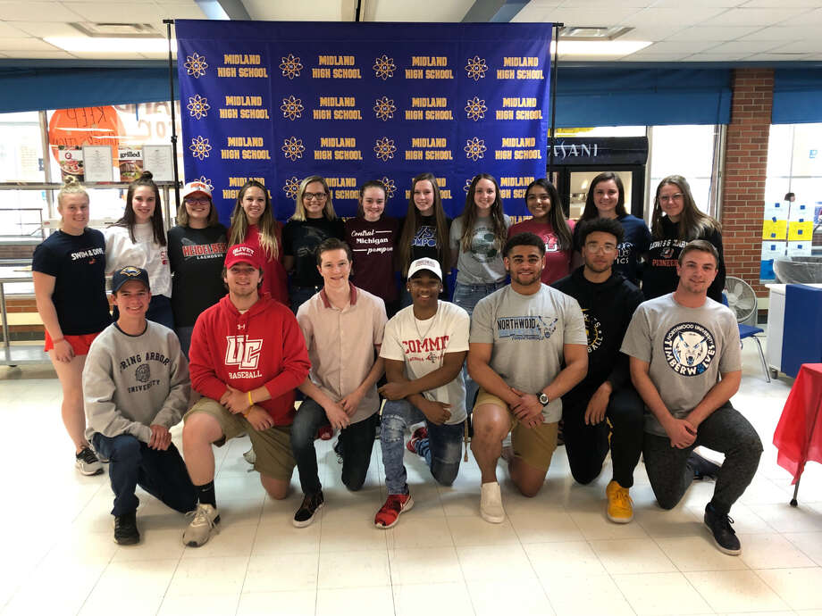 Many Midland High senior student-athletes made their collegiate plans official during a celebration at the school on Tuesday afternoon. Photo: Photo From Chemics.net