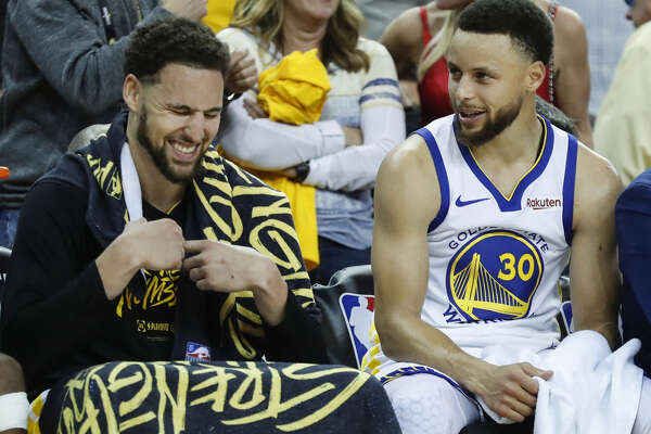 c12d139cde9a 1of18Golden State Warriors Klay Thompson and Stephen Curry are seen in the  fourth quarter during game 1 of the Western Conference Finals between the  Golden ...