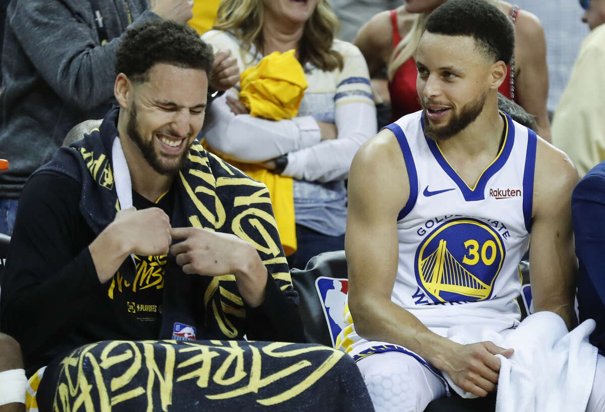 Golden State Warriors Klay Thompson and Stephen Curry are seen in the fourth quarter during game 1 of the Western Conference Finals between the Golden State Warriors and the Portland Trail Blazers at Oracle Arena on Tuesday, May 14, 2019 in Oakland, Calif.