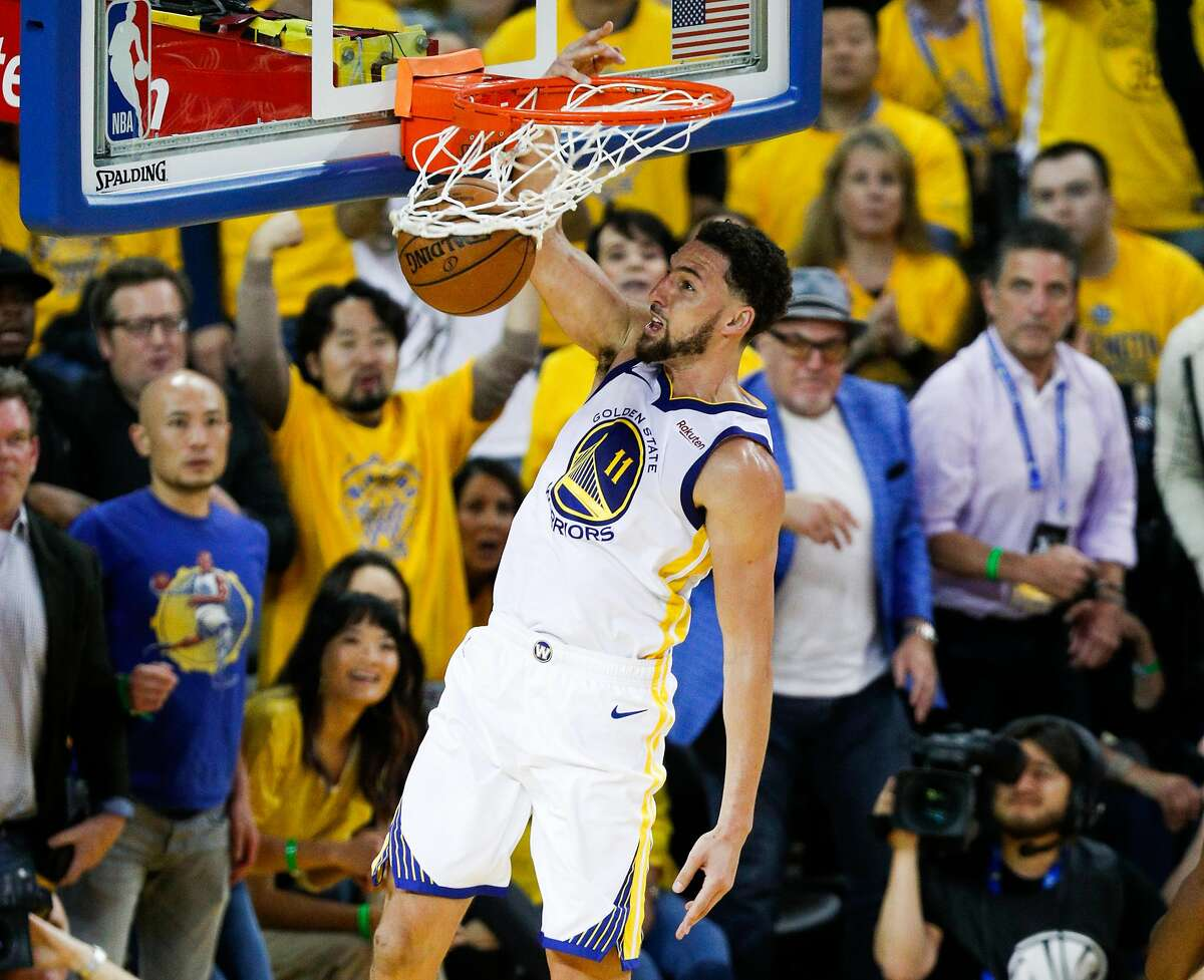 Golden State Warriors Klay Thompson dunks in the fourth quarter during game 1 of the Western Conference Finals between the Golden State Warriors and the Portland Trail Blazers at Oracle Arena on Tuesday, May 14, 2019 in Oakland, Calif.
