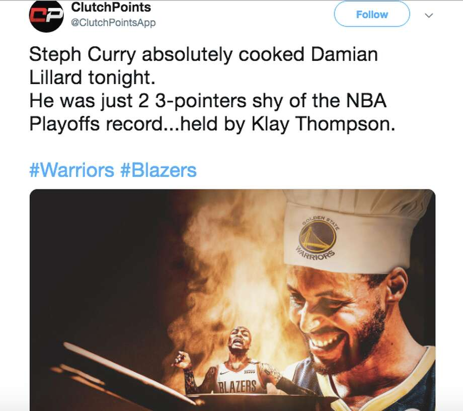 "Warriors fans hailed the return of the ""old Steph"" after the team's Game 1 win over the Portland Trail Blazers in the Western Conference Finals. Photo: Twitter"