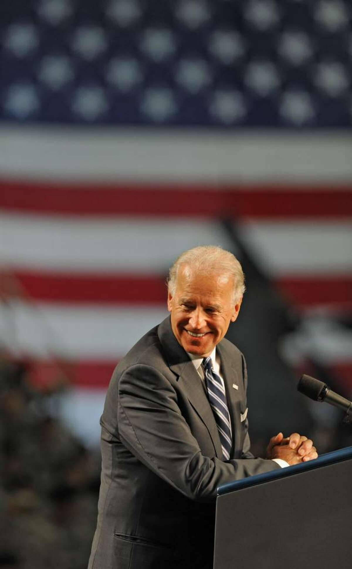 Vice President Joe Biden addresses the troops at Fort Drum in Fort Drum, NY, on July 28, 2010. The Vice President and his wife, Jill Biden, welcomed home the 2nd Brigade Combat Team, 10th Mountain Division, from Iraq. (Lori Van Buren / Times Union)