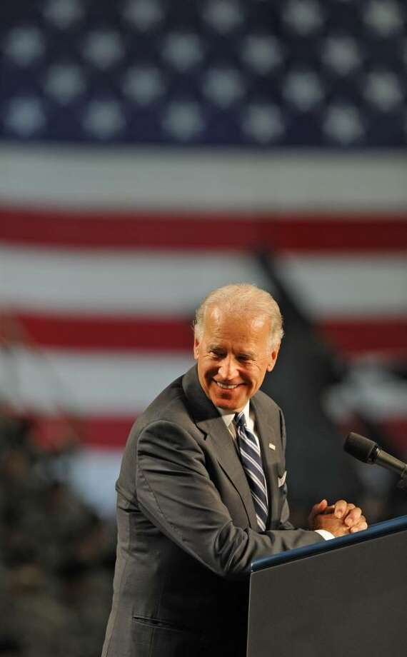 Vice President Joe Biden addresses the troops at Fort Drum in Fort Drum, NY, on July 28, 2010. The Vice President and his wife, Jill Biden, welcomed home the 2nd Brigade Combat Team, 10th Mountain Division, from Iraq. (Lori Van Buren / Times Union) Photo: LORI VAN BUREN