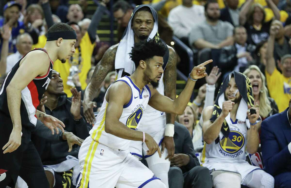 Golden State Warriors Quinn Cook reacts in the fourth quarter during game 1 of the Western Conference Finals between the Golden State Warriors and the Portland Trail Blazers at Oracle Arena on Tuesday, May 14, 2019 in Oakland, Calif.