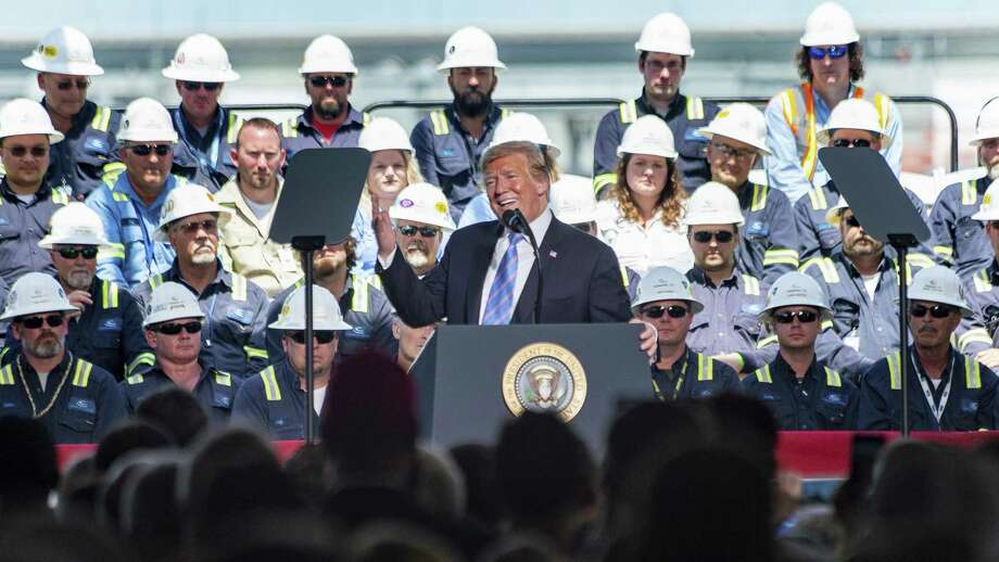 President Donald Trump speaking at Cameron LNG Export Terminal in Hackberry, LA. Tuesday, May 14, 2019. Federal regulators gave the plant permission to start exporting liquefied natural gas made during the plant's weeks-long startup process.  Photo: Scott Clause, MBR / Associated Press / SCOTT CLAUSE/USA TODAY Network
