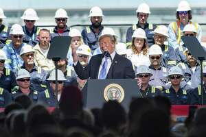 President Donald Trump speaking at Cameron LNG Export Terminal in Hackberry, LA. Tuesday, May 14, 2019. (Scott Clause/The Daily Advertiser via AP)