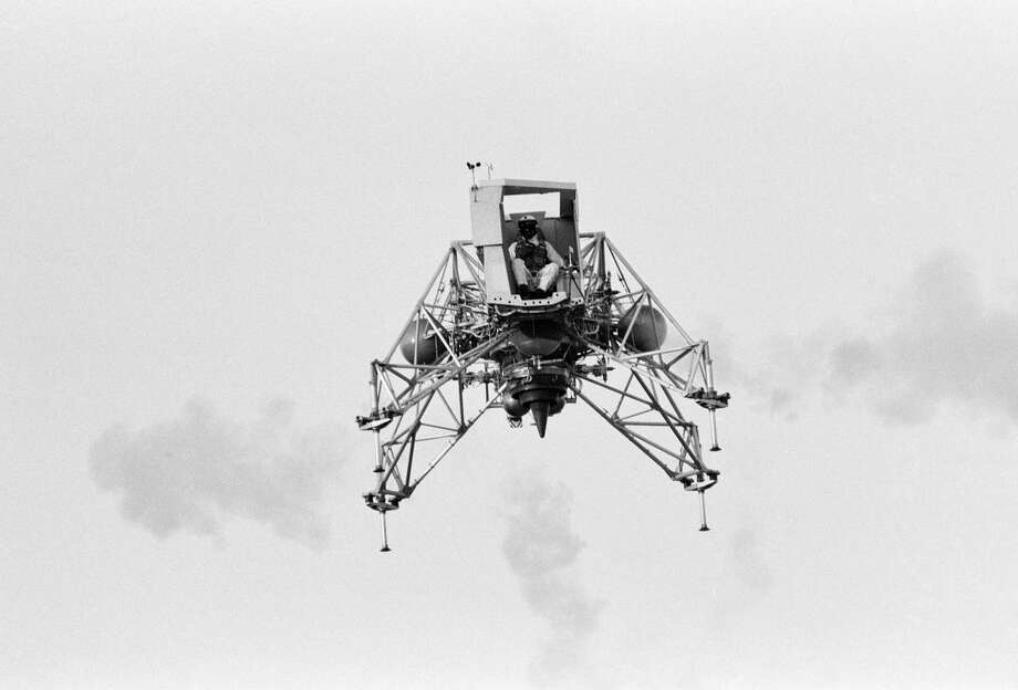 Inflight view of Astronaut Neil Armstrong flying the Lunar Landing Training Vehicle (LLTV) at EAFB. EAFB, Houston, TX Photo: Credit: NASA