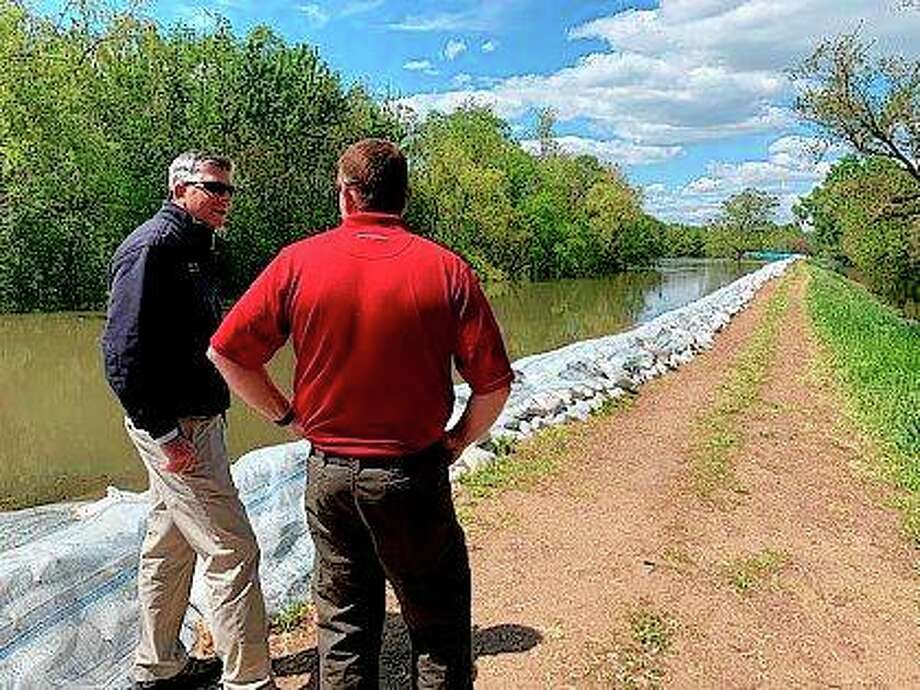 Congressman Darin LaHood discusses flooding concerns in Morgan, Scott and Pike counties. Photo: Photo Provided