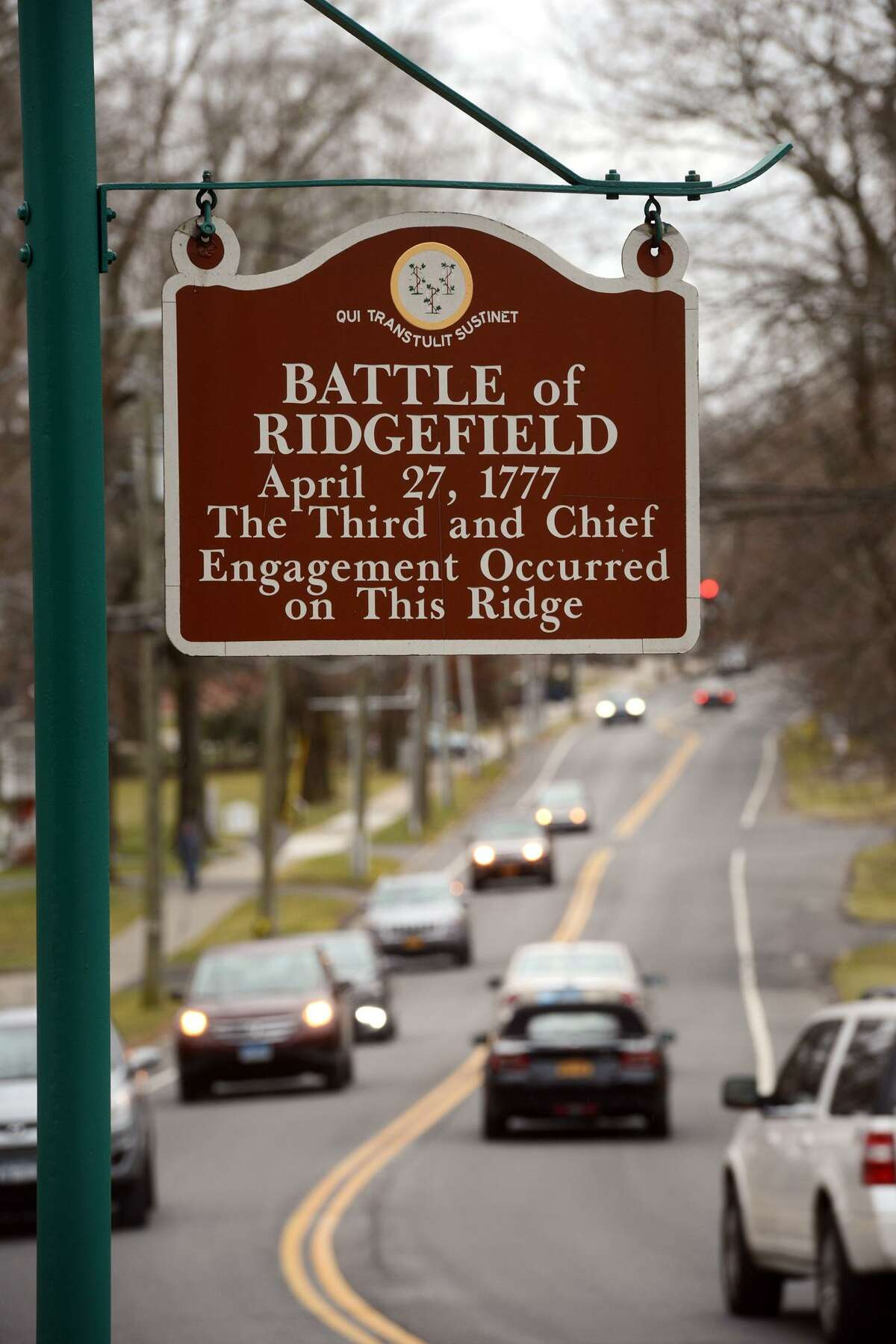 A sign marks the location of the Battle of Ridgefield, in Ridgefield, Conn.