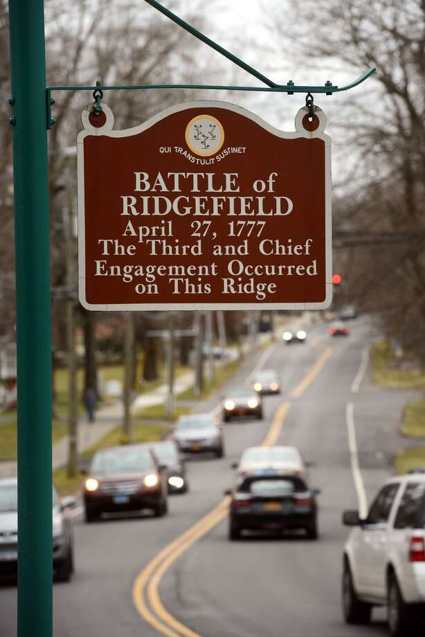 A sign marks the location of the Battle of Ridgefield, in Ridgefield, Conn. Dec. 30, 2018. Photo: Ned Gerard / Hearst Connecticut Media / Connecticut Post