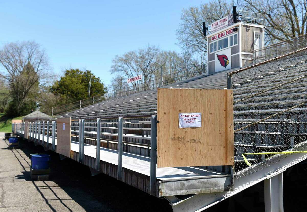 The Cardinal Stadium home bleachers are closed during the boy's lacrosse game at Greenwich High School in Greenwich, Conn. Thursday, April 16, 2019.