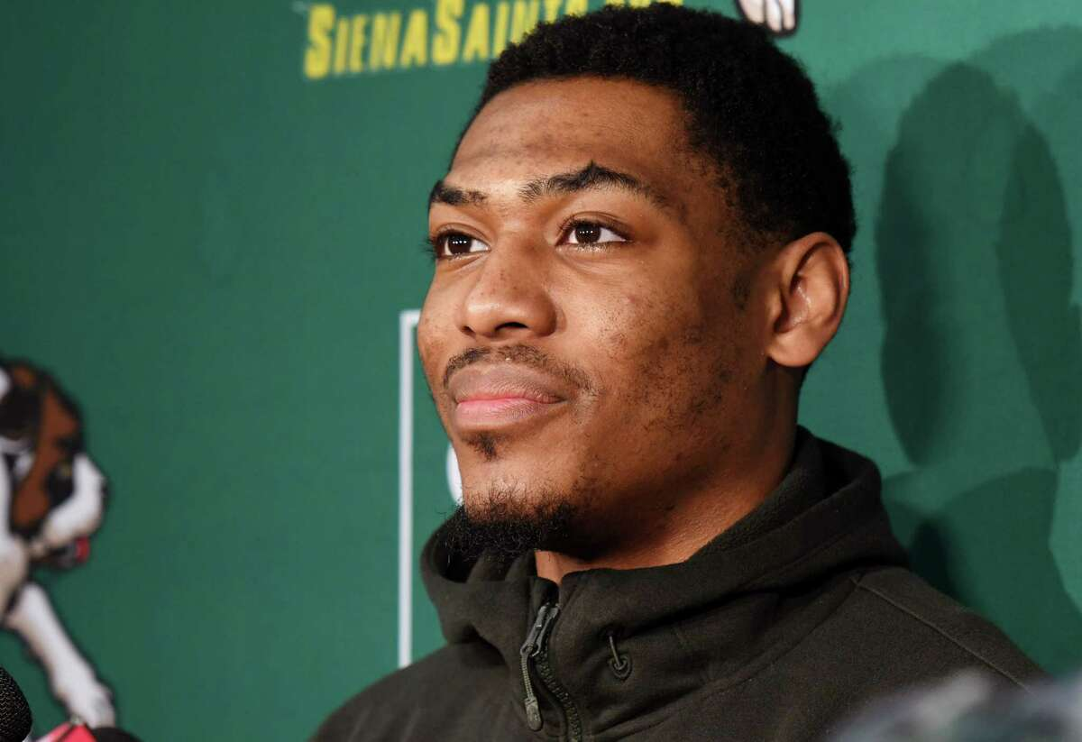 Siena men's basketball guard Jalen Pickett talks about his experience playing in the NBA G League Elite Camp on Wednesday, May 15, 2019 at Siena College in Loudonville, NY. (Phoebe Sheehan/Times Union)