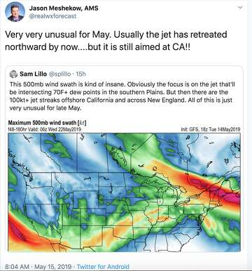 34454191 ... strong atmospheric river draped over California in mid-May 2019,  meteorologists shared amazement, awe and lots of data and graphics on  Twitter.