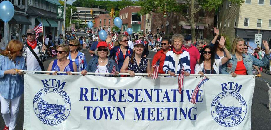 A delegation of Representative Town Meeting members in marches in the Memorial Day parade. Photo: Hearst Connecticut Media File Photo / Westport News