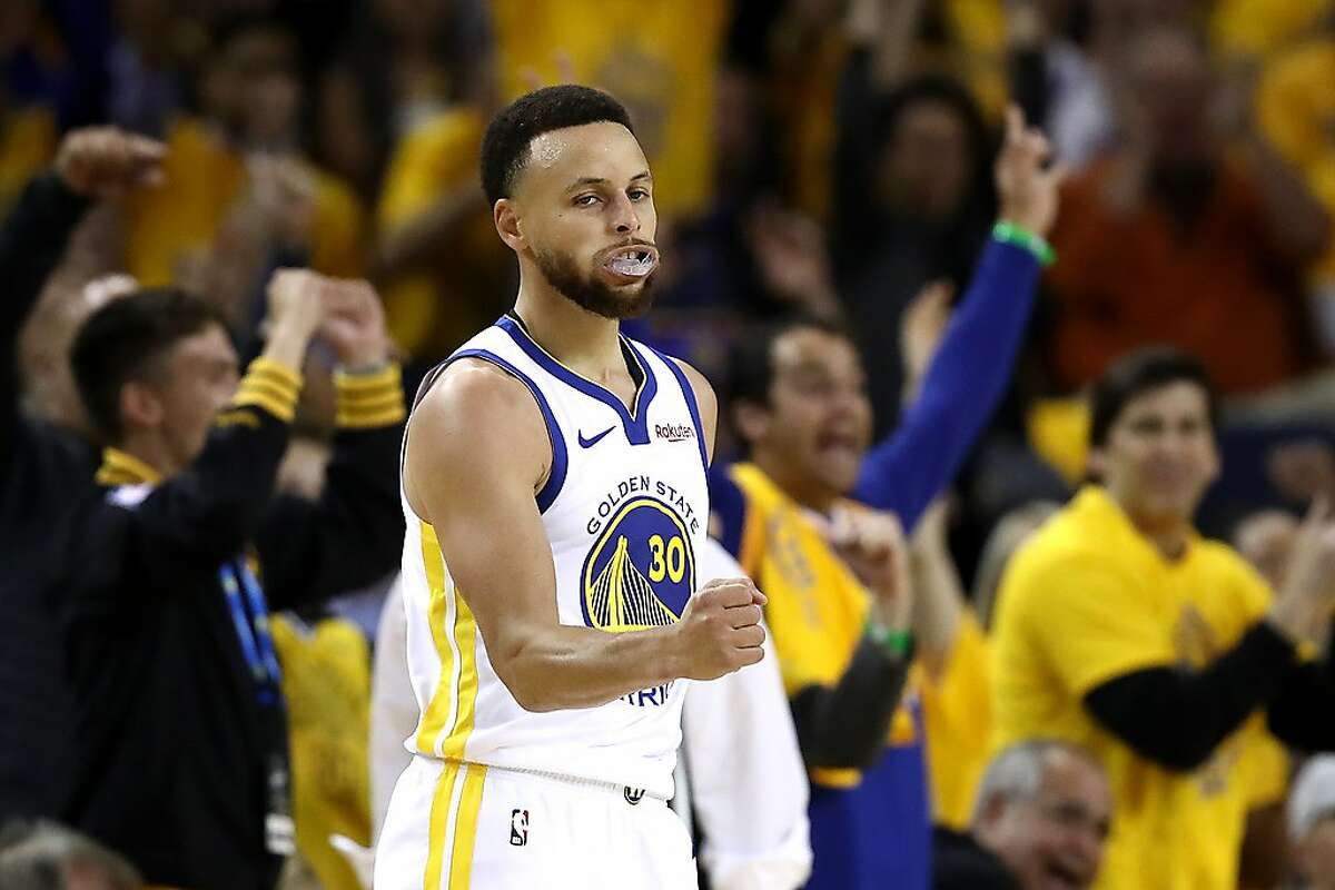 OAKLAND, CALIFORNIA - MAY 14: Stephen Curry #30 of the Golden State Warriors reacts to a shot during the second half against the Portland Trail Blazers in game one of the NBA Western Conference Finals at ORACLE Arena on May 14, 2019 in Oakland, California. NOTE TO USER: User expressly acknowledges and agrees that, by downloading and or using this photograph, User is consenting to the terms and conditions of the Getty Images License Agreement. (Photo by Ezra Shaw/Getty Images)
