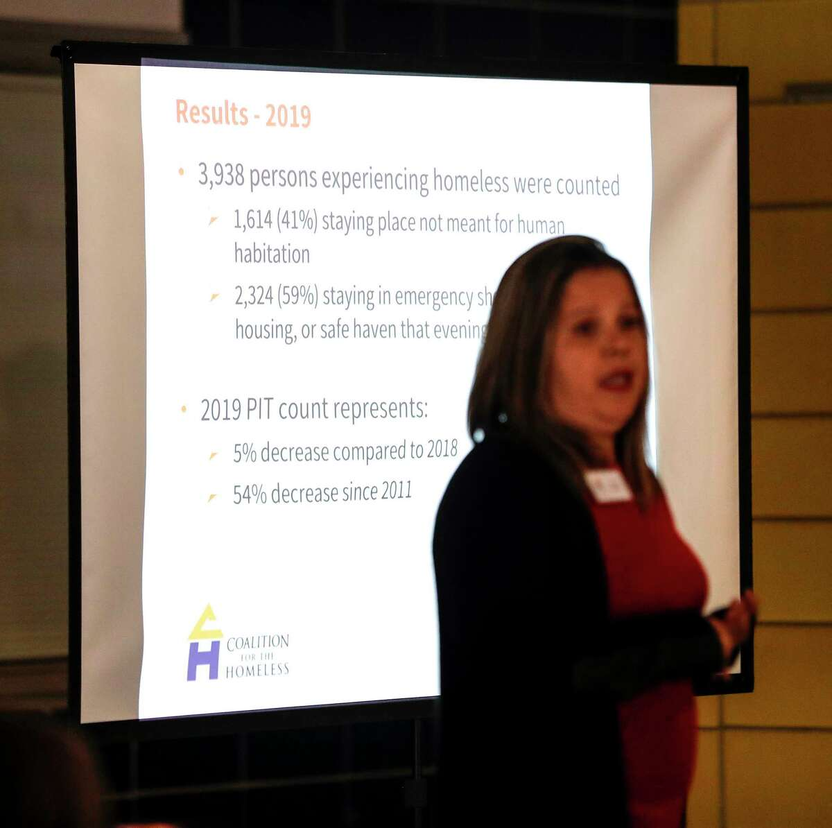 Ana Rausch, Senior Research Project Manager with the Coalition for the Homeless of Houston/Harris County speaks as she unveiled the results of the 2019 Homeless Count & Survey, completed in January, in Houston, Wednesday, May 15, 2019.