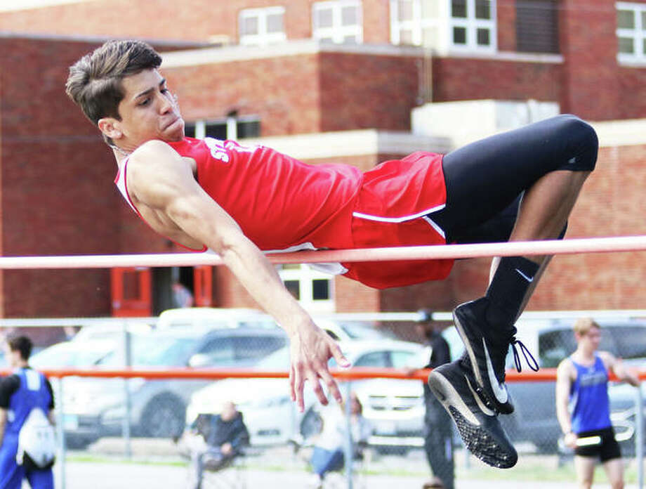 Staunton's Anthony Dittamaier clears the bar during high jump competition on May 6 at the South Central Conference Meet in Hillsboro. Dittmaier and the Bulldogs will join the field of Class 1A schools at the Gillespie Sectional on Thursday, with berths at stake to the boys track state meet May 23-25 at Eastern Illinois University in Charleston. Alton and Edwardsville head north Thursday to the Bloomington Class 3A Sectional, while the area's Class 2A schools wait until Friday for the Springfield Lanphier Sectional. Photo: Greg Shashack / The Telegraph