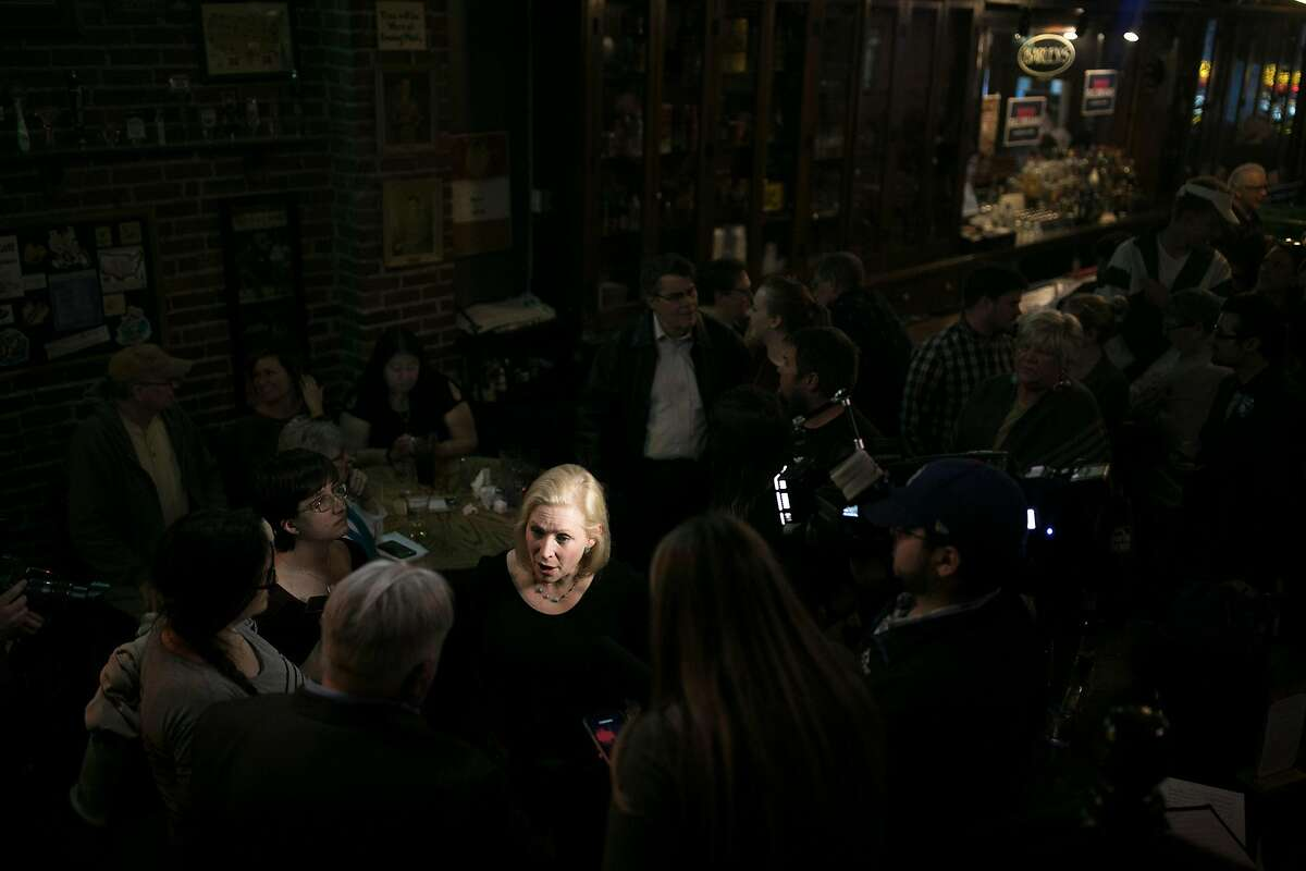FILE-- Sen. Kirsten Gillibrand (D-N.Y.), a Democ�ratic presi�denti�al hopef�ul, speaks to reporters in Council Bluffs, Iowa, April 18, 2019. After the Alabama Senate approved a measure that would outlaw almost all abortions in the state, Gillibrand announced that she would travel to Atlanta on May 16 to hold a round-table with women at the Georgia State House. (Maddie McGarvey/The New York Times)