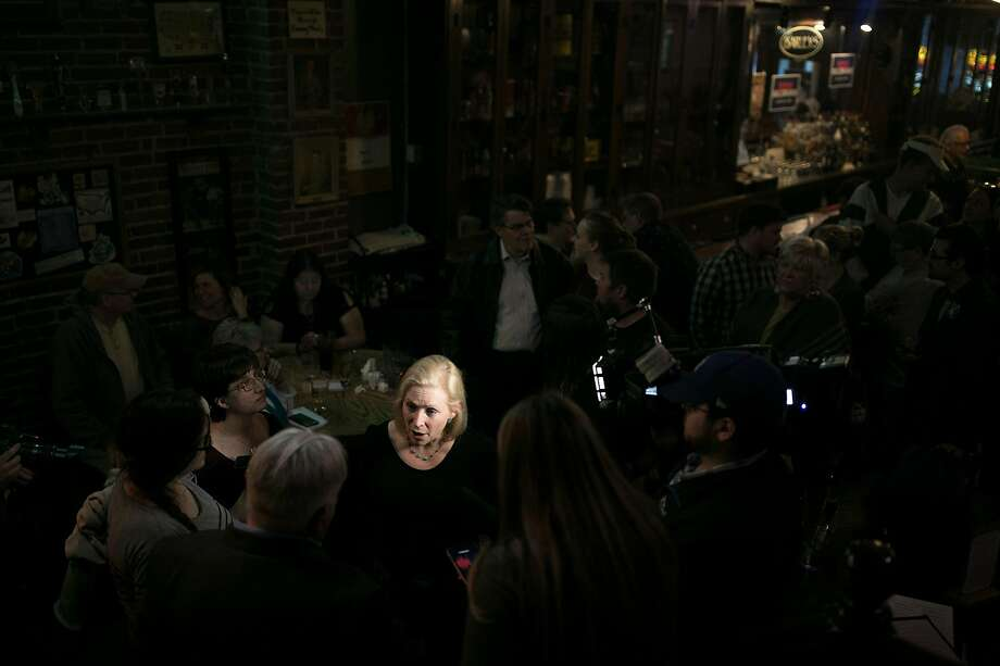 FILE-- Sen. Kirsten Gillibrand (D-N.Y.), a Democ­ratic presi­denti­al hopef­ul, speaks to reporters in Council Bluffs, Iowa, April 18, 2019. After the Alabama Senate approved a measure that would outlaw almost all abortions in the state, Gillibrand announced that she would travel to Atlanta on May 16 to hold a round-table with women at the Georgia State House. (Maddie McGarvey/The New York Times) Photo: MADDIE MCGARVEY;Maddie Mcgarvey / New York Times