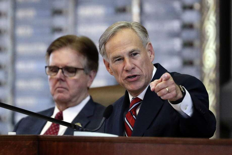 FILE - In this Feb. 5, 2019 file photo, Texas Gov. Greg Abbott, right, gives his State of the State address as Texas Lt. Gov. Dan Patrick, left, listens in the House Chamber, in Austin, Texas. Abbott is pushing for a sales taxes increase for the first time in nearly 30 years as Republican leaders struggle to deliver on simultaneous promises to boost money for education and cut property taxes. The plan for a one-penny increase would raise the statewide sales tax rate from 6.25% to 7.25%. That money could be used to offset reduced property taxes, which have taken on bigger share of public school funding as the state cut costs and resisted calls for new spending. (AP Photo/Eric Gay, File) Photo: Eric Gay / Eric Gay / Associated Press / Copyright 2019 The Associated Press. All rights reserved.