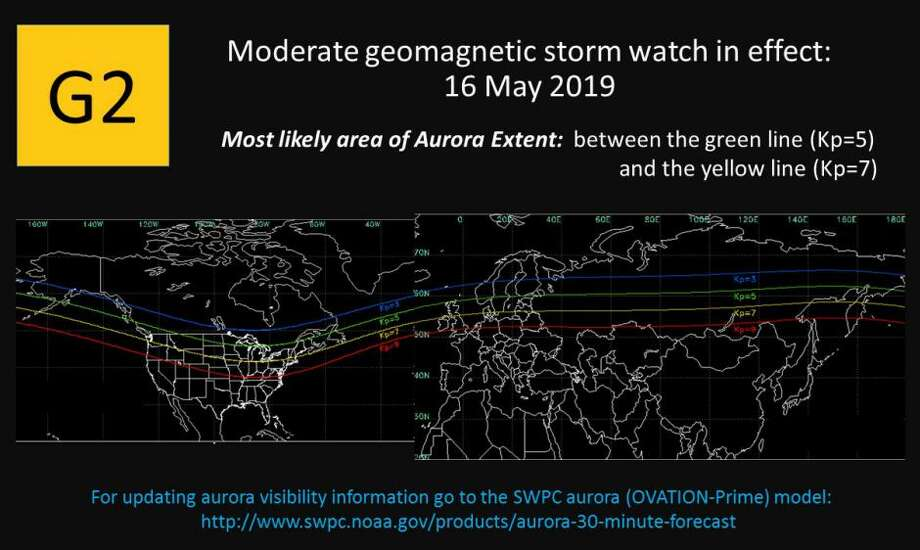 This alert from SWPC shows a map of where the aurora could potentially reach. The green line is a G1 alert, and the yellow line represents a G2 alert. Photo: NOAA - SWPC