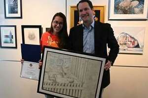 Stamford High School Senior Ivy Zingone won first place in the 2019 4th Congressional District Art Competition.