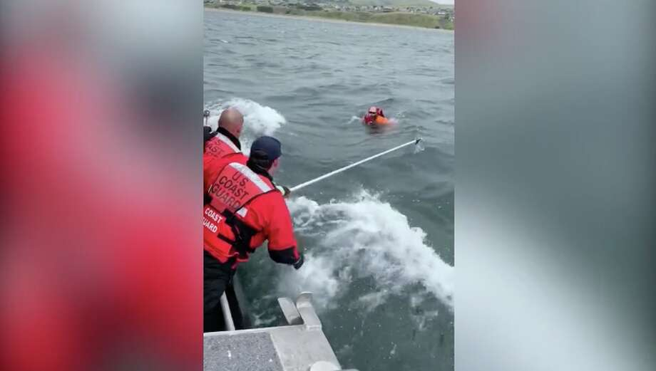 U.S. Coast Guard crews rescued a man who became separated from his kayak off the windy Bodega Bay coast Sunday afternoon. Photo: Screenshot/ U.S. Coast Guard District 11