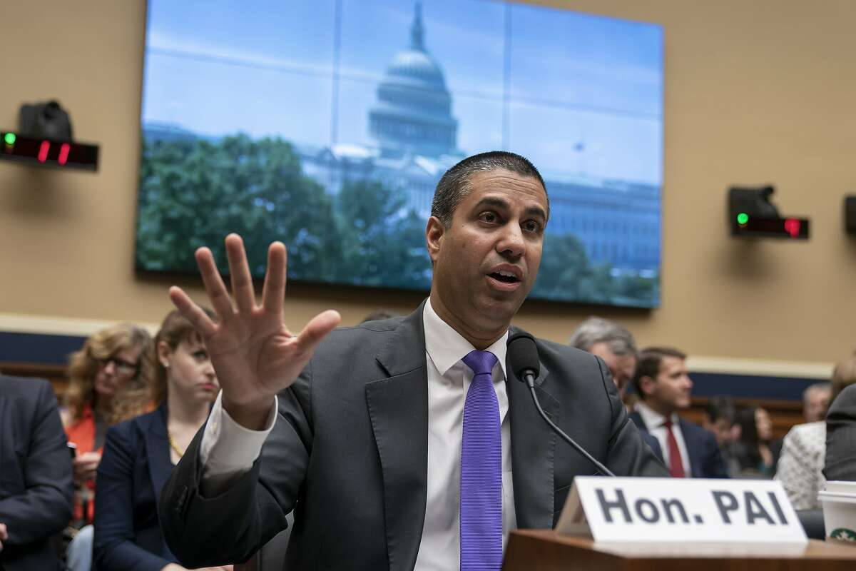 Ajit Pai, chairman of the Federal Communications Commission, testifies as the House Energy and Commerce Committee holds an oversight hearing of the FCC, on Capitol Hill in Washington, Wednesday, May 15, 2019. (AP Photo/J. Scott Applewhite)