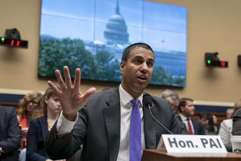 Ajit Pai, chairman of the Federal Communications Commission, testifies as the House Energy and Commerce Committee holds an oversight hearing of the FCC, on Capitol Hill in Washington, Wednesday, May 15, 2019. (AP Photo/J. Scott Applewhite) Photo: J. Scott Applewhite / Associated Press