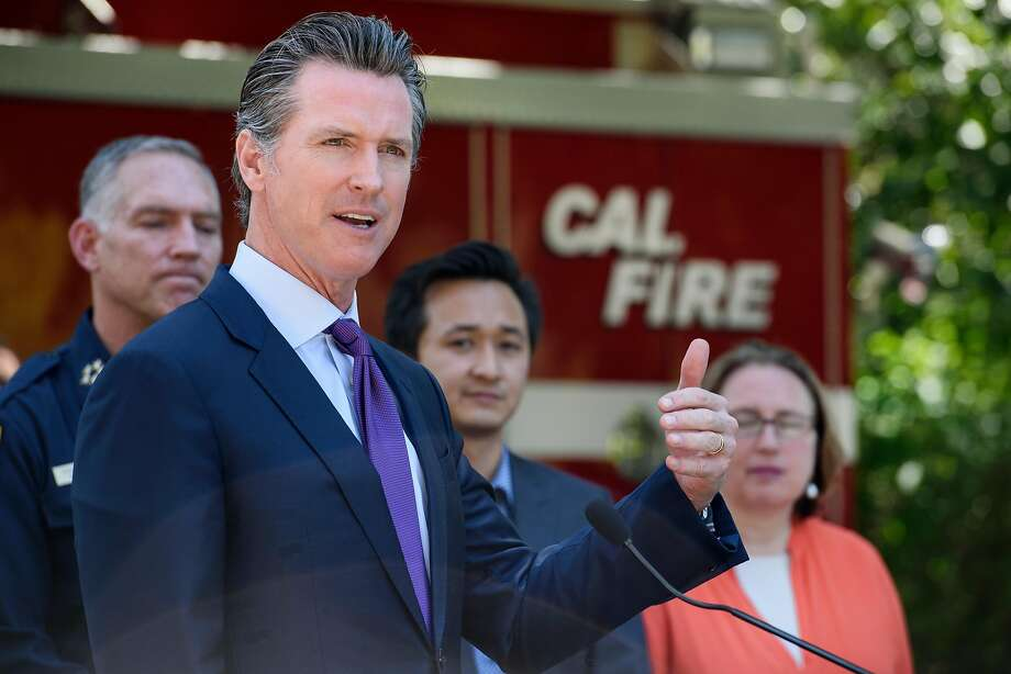 Governor Gavin Newsom speaks during a press conference held in Tilden Park in Berkeley, Calif, on Tuesday, April 23, 2019. Governor Gavin Newsom joins Oakland Mayor Libby Schaaf and Berkeley Mayor Jesse Arregu'n as well as state and local fire officials with Cal Fire to discuss the hazards posed by wildfires at the interface where wild land and urban development meet. Photo: Michael Short / Special To The Chronicle