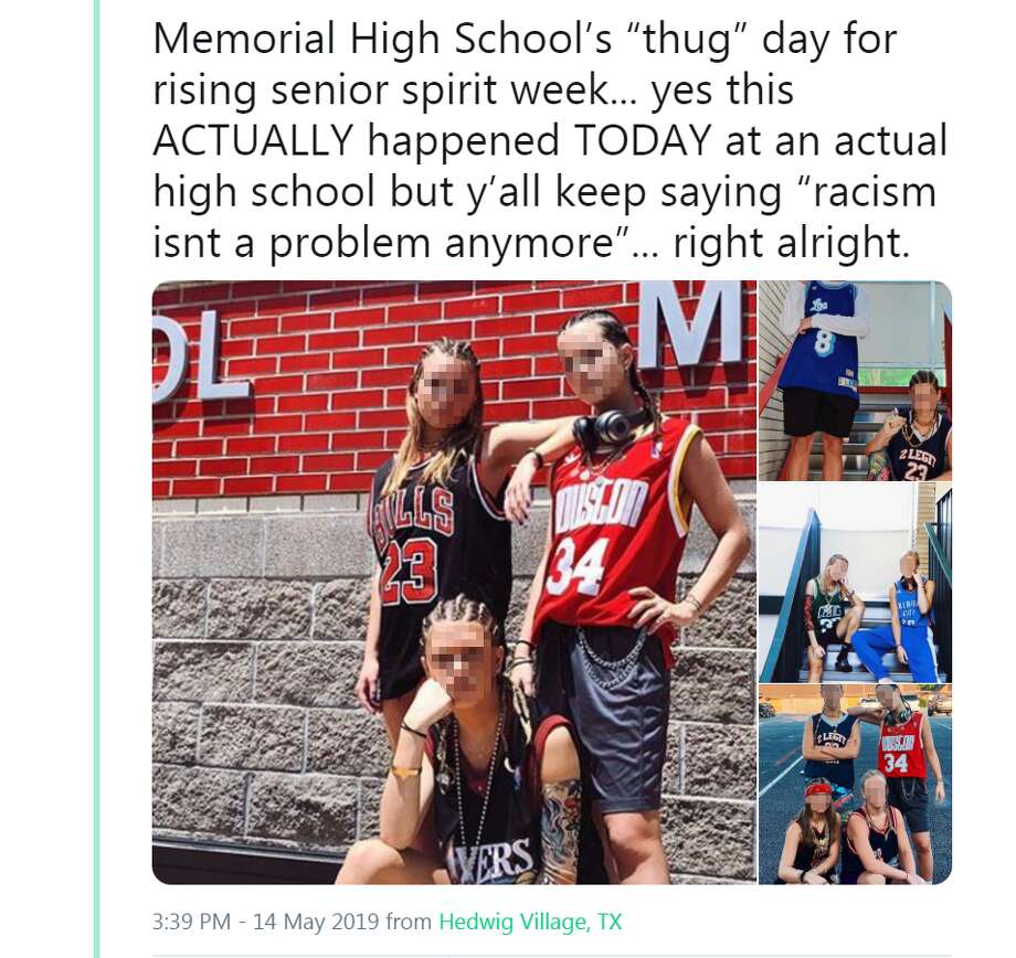 "Memorial High School's ""thug"" day for rising senior spirit week... yes this ACTUALLY happened TODAY at an actual high school but y'all keep saying ""racism isnt a problem anymore""... right alright. Photo: Twitter Screengrab"