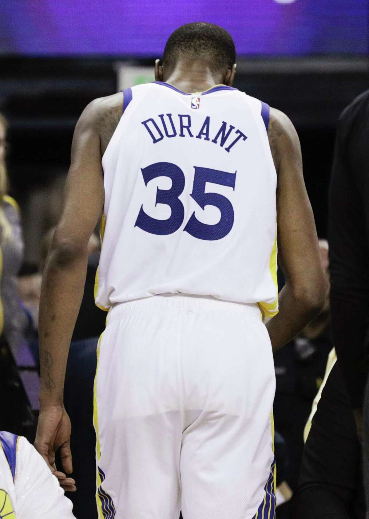 Golden State Warriors Kevin Durant walks to the locker room in the third quarter during game 5 of the Western Conference Semifinals between the Golden State Warriors and the Houston Rockets at Oracle Arena on Wednesday, May 8, 2019 in Oakland, Calif.