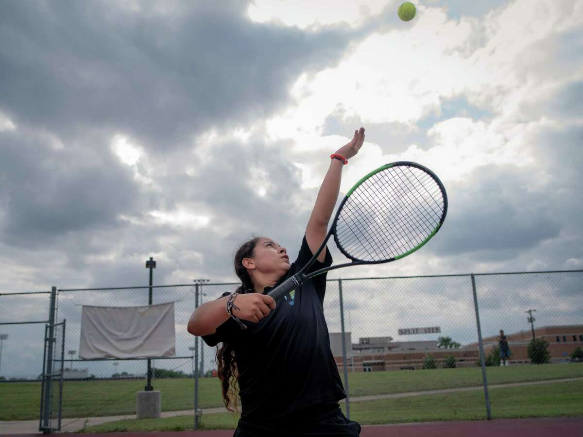 Burbank High School sophomore tennis player Valerie Navarro-Cavazos practices at her school on Monday, May 13, 2019. Navarro-Cavazos is the first girl from Burbank to go the state tournament in tennis since 1965. She is competing to be the first girl ever to win a girls' singles state title from San Antonio Independent School District.
