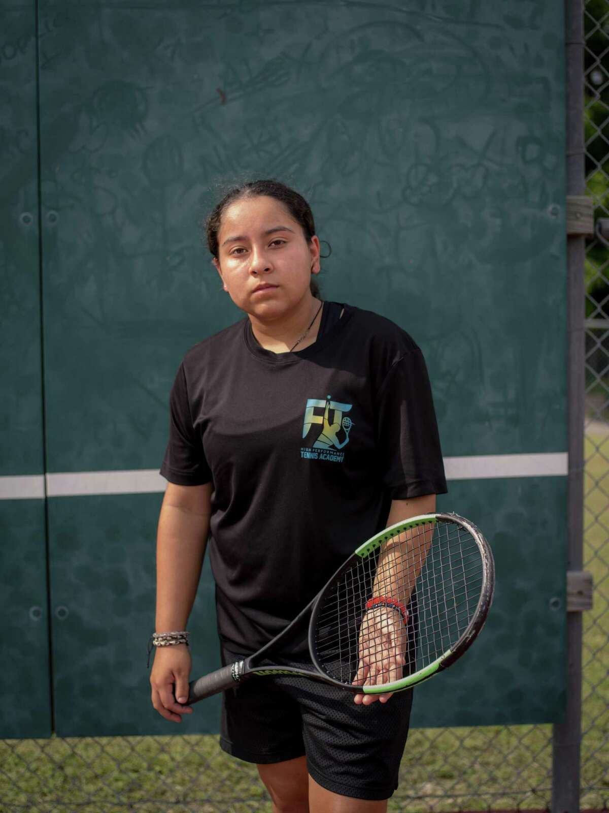 Burbank High School sophomore tennis player Valerie Navarro-Cavazos poses for a portrait on Monday, May 13, 2019. Navarro-Cavazos is the first girl from Burbank to go the state tournament in tennis since 1965. She is competing to be the first girl ever to win a girls' singles state title from San Antonio Independent School District.