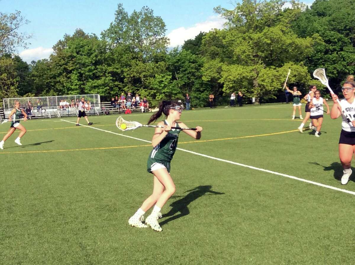 Franny O'Brien scored two goals in Sacred Heart Greenwich's 20-4 win over Hamden Hall on Wednesday, May 15, 2019, in Greenwich, Conn.