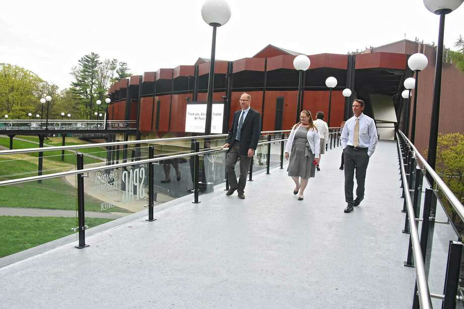 People check out one of the new ramps as Saratoga Performing Arts Center unveils its brand new amphitheater ramps just prior to opening for the 2019 summer season on Wednesday, May 15, 2019 in Saratoga Springs, N.Y. (Lori Van Buren/Times Union) Photo: Lori Van Buren, Albany Times Union / 20046909A