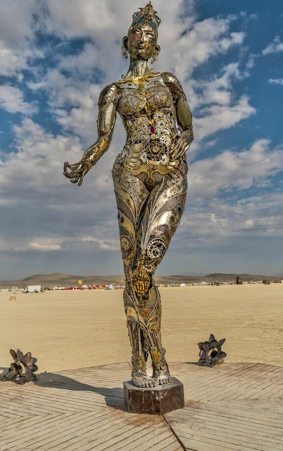 "Dana Albany's sculpture ""Tara Mechani"" is seen at Burning Man in 2017. Photo: Geoffrey Squier Silver"