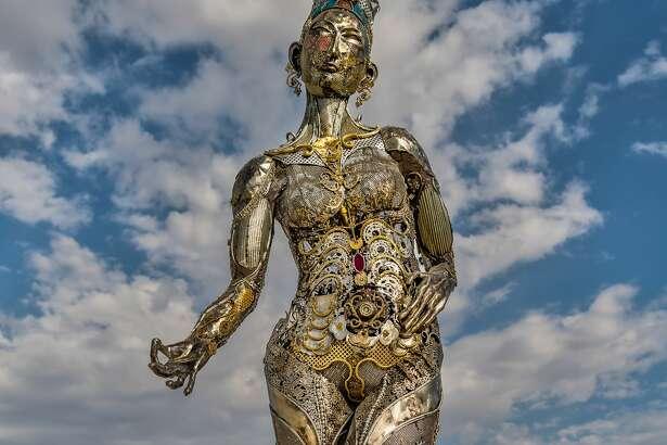"Dana Albany's sculpture ""Tara Mechani"" is seen at Burning Man in 2017."