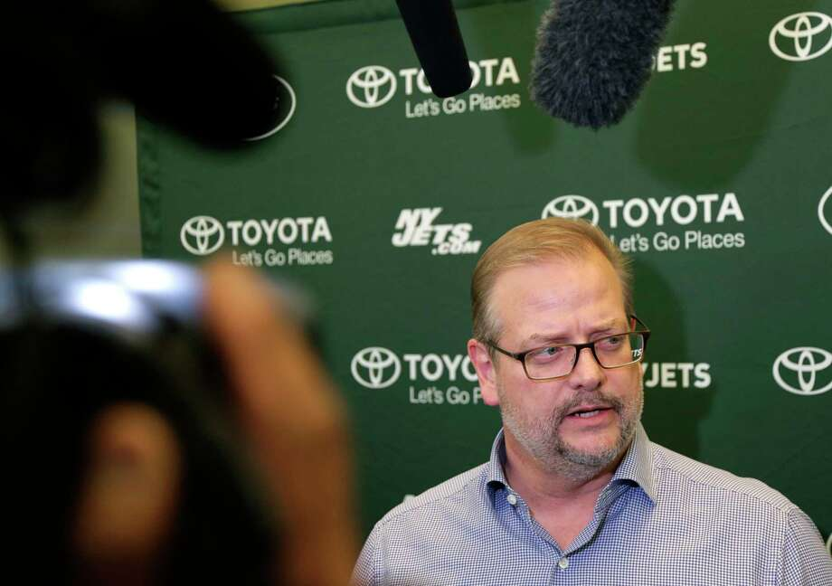 New York Jets general manager Mike Maccagnan speaks to reporters in Florham Park, N.J., Monday, Dec. 31, 2018. After firing Todd Bowles on Sunday night, the New York Jets are focused on bringing in someone who will be able to lead a franchise that has missed the playoffs for eight straight seasons but has a promising young quarterback in Sam Darnold and expects to be busy in free agency this offseason. (AP Photo/Seth Wenig) Photo: Seth Wenig / Copyright 2018 The Associated Press. All rights reserved.
